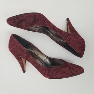 Velour Textured Heels Cranberry Pumps New Spain